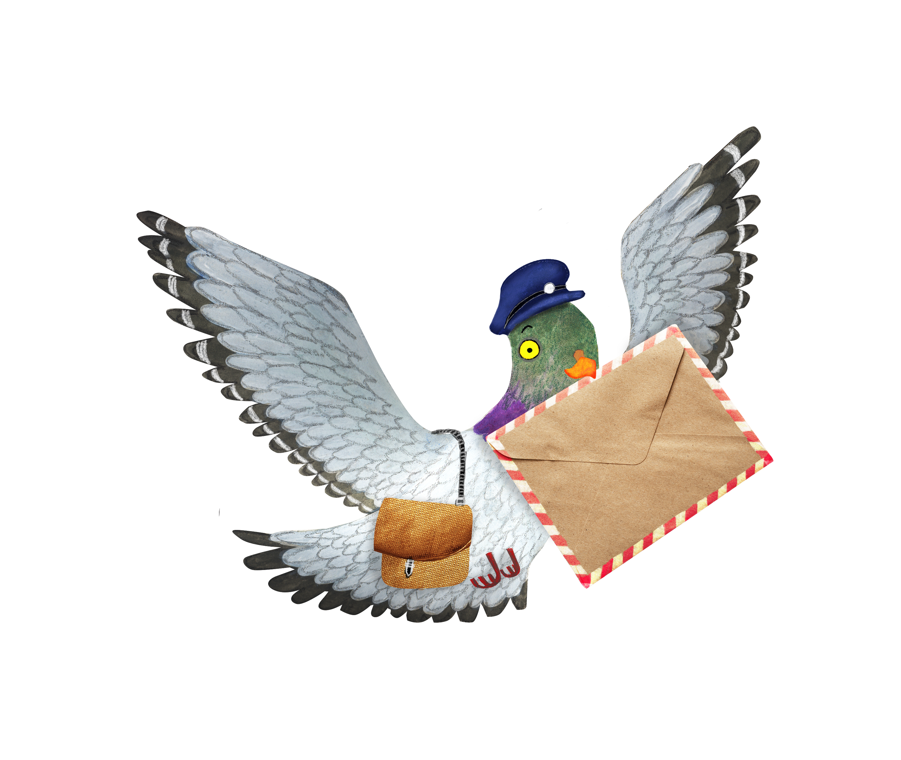 contact me by sending a message with Mr Coo the carrier pigeon